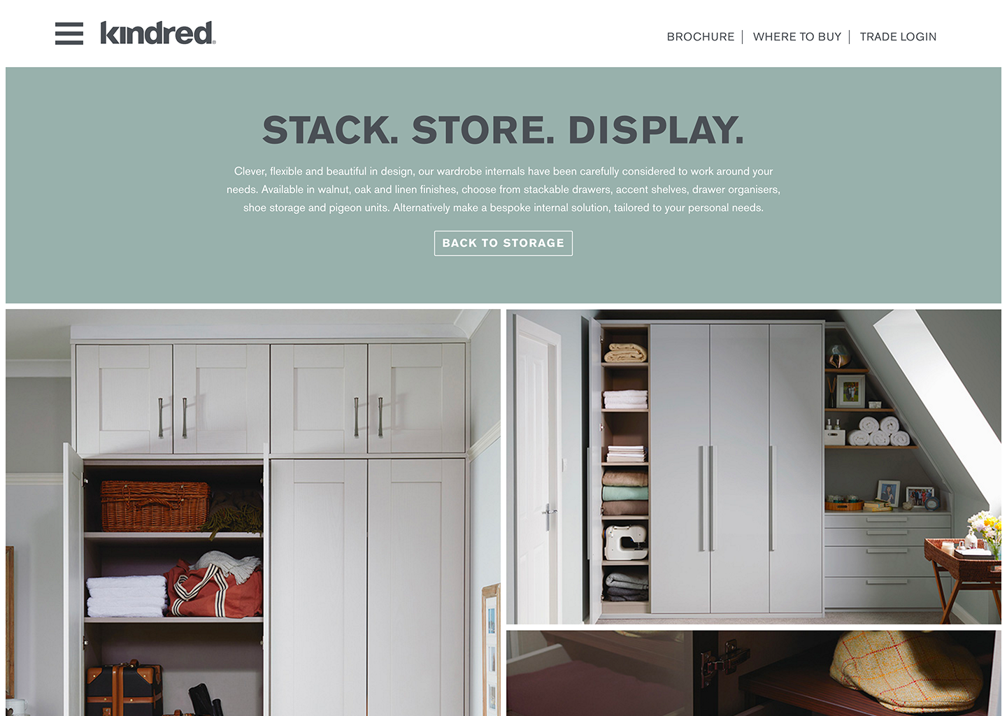Kindred bedrooms website page