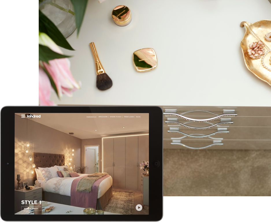 Kindred bedrooms website on iPad