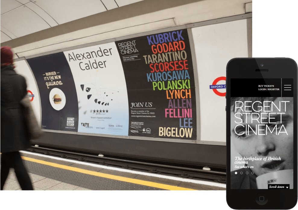 Regent street cinema advert on the London Underground and mobile