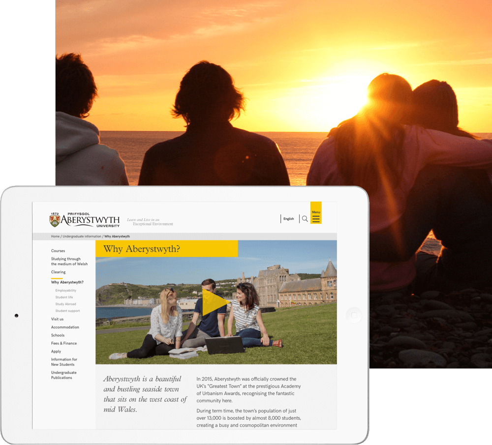 Aberystwyth University website on an iPad