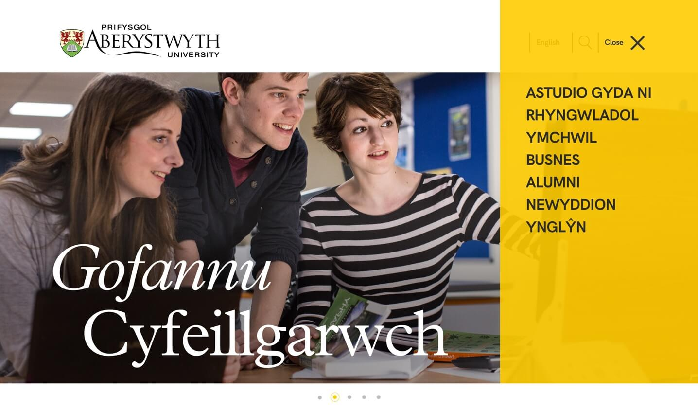 Screenshot of Aberystwyth University website menu in welsh