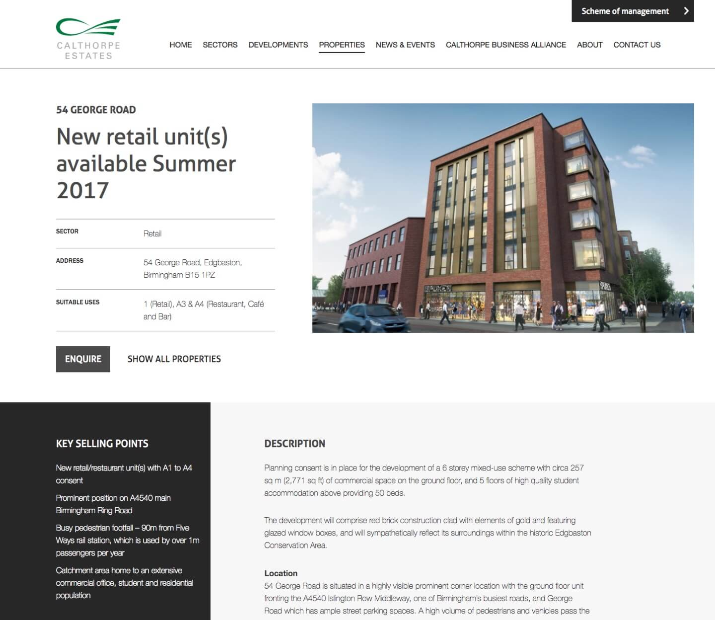 Screenshot of Calthorpe Estate Website