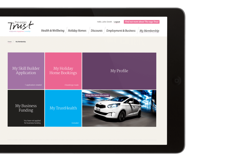 eaga Trust website on tablet