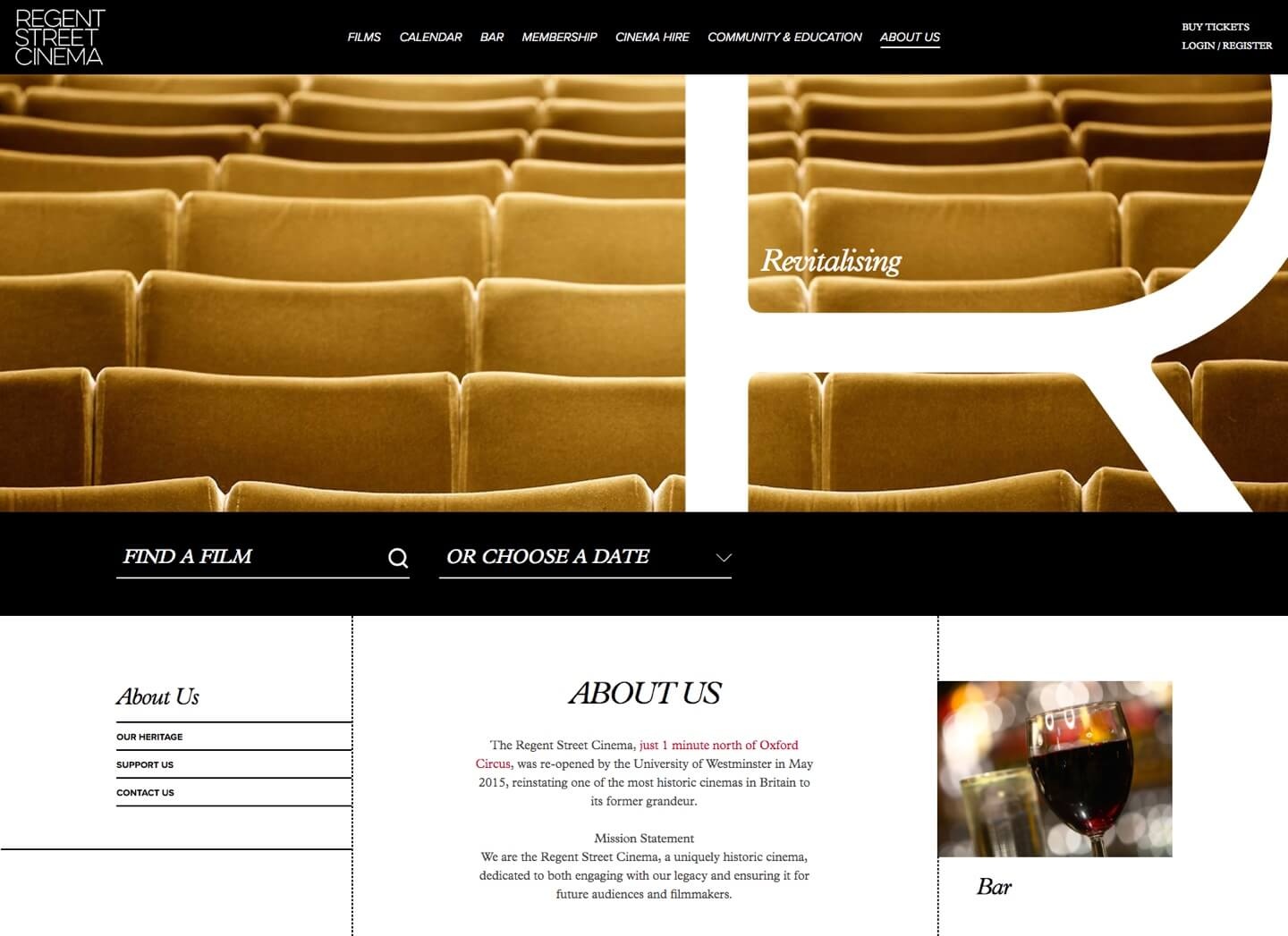 Yellow seats at regent street cinema in a header
