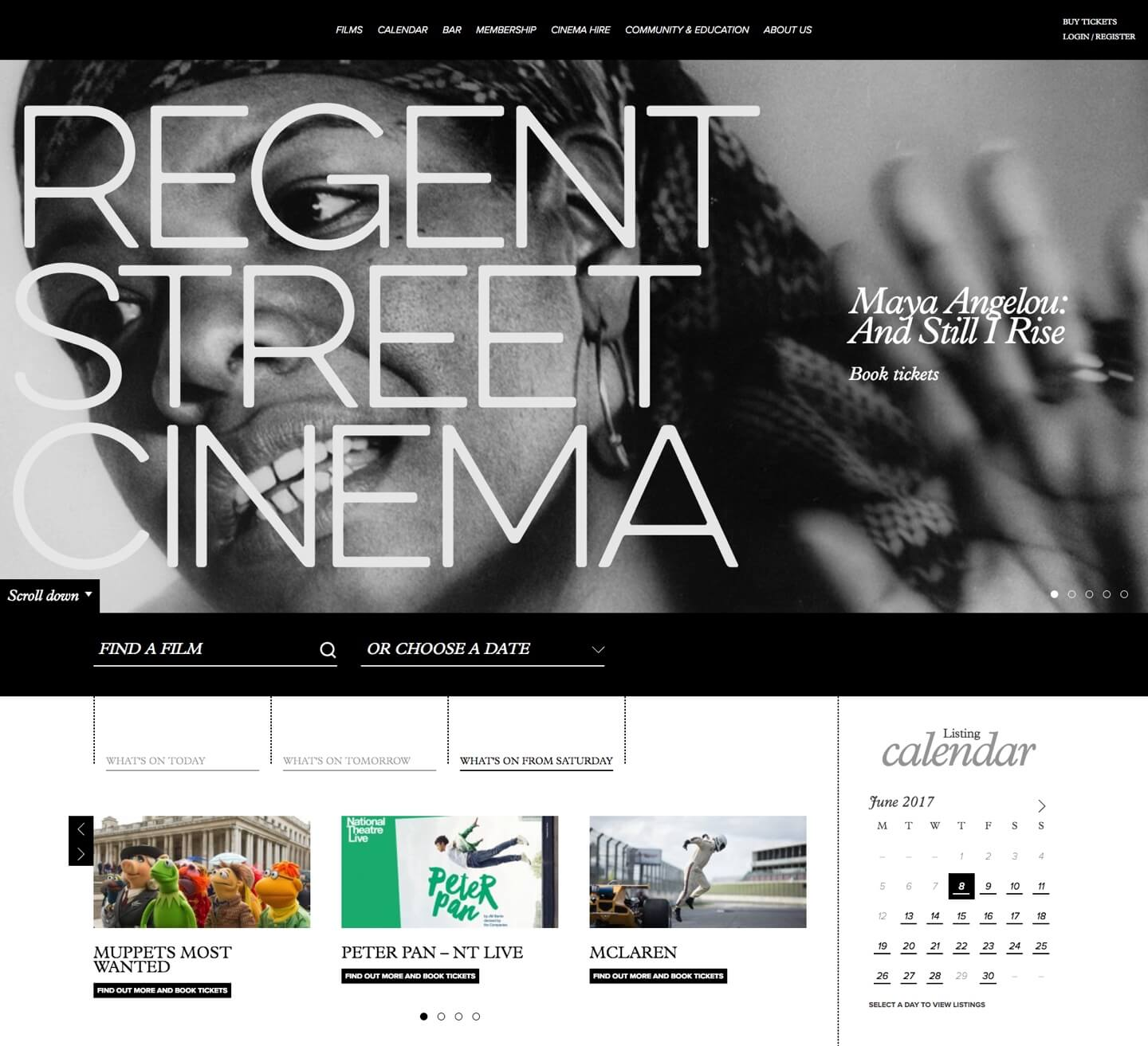 Regent street cinema bookings page