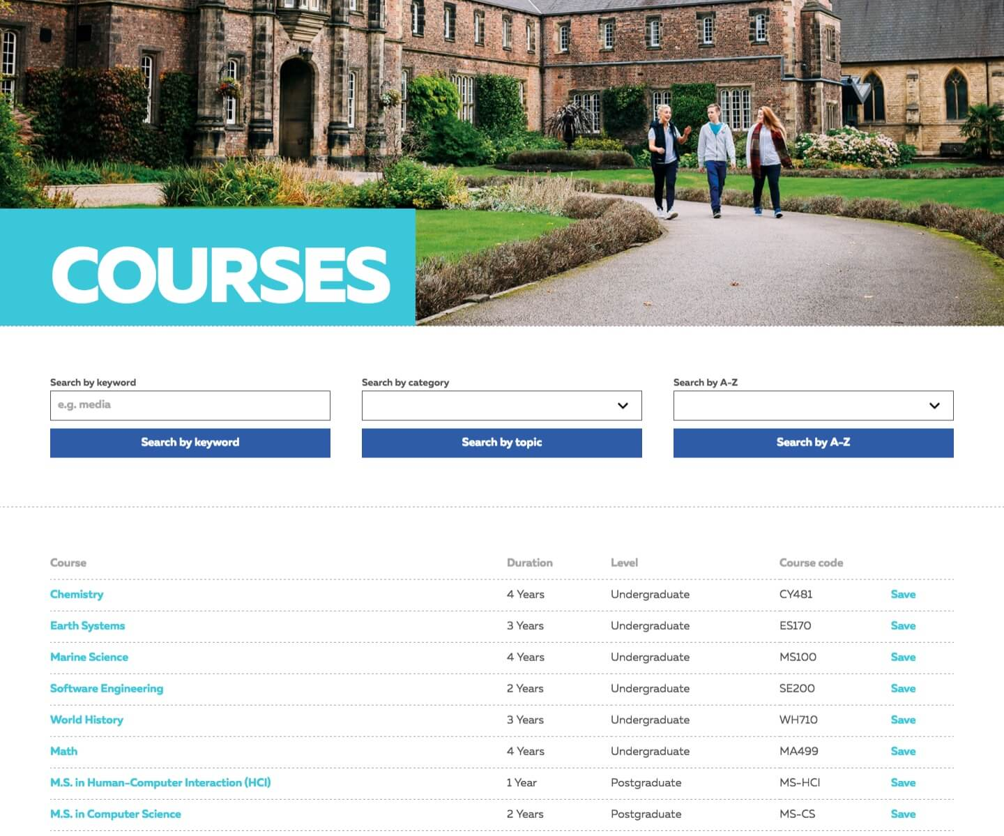 Screenshot of York St John University Website
