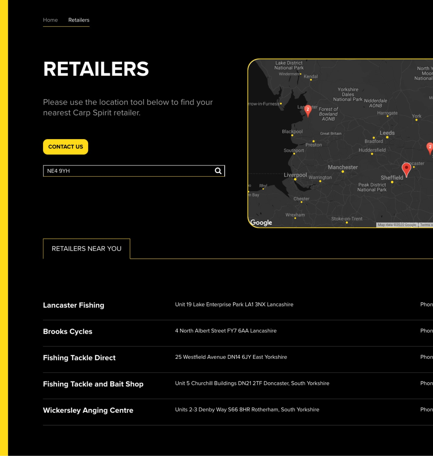 Screenshot of Carp Spirit Retailer Page